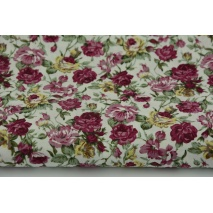Cotton 100% heather and burgundy flowers, poplin