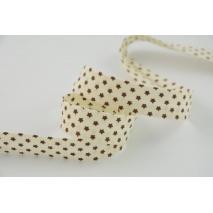 Lamówka bawełniana brązowe gwiazdki 18mm