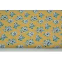 Cotton 100% gray roses on a mustard background with dots, poplin