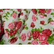Cotton 100% red rose bouquets on a white background, poplin