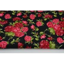 Bawełna 100% czerwone bukiety róż na czarnym tle, popelina