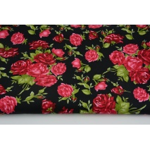 Cotton 100% red rose bouquets on a black background, poplin