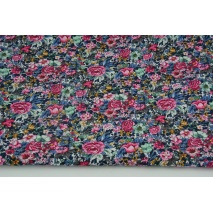 Cotton 100% colorful meadow with flowers, poplin