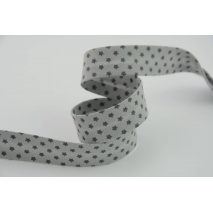 Cotton bias binding dark grey stars on a grey background 18mm