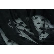 Siatka flokowane kropki, czarna