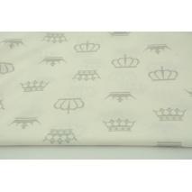 Bawełna 100% szare korony na białym tle