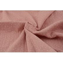 Double gauze 100% cotton white polka dots on a quartz pink background