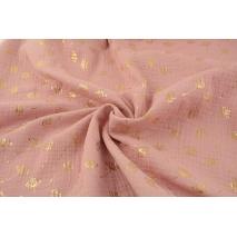Double gauze 100% cotton gold dills on a quartz rose background
