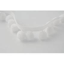 Tasiemka z pomponami biała duża