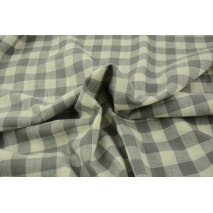 Linen-cotton fabric, vichy check 2cm, gray