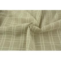 Linen-cotton fabric, double check, beige