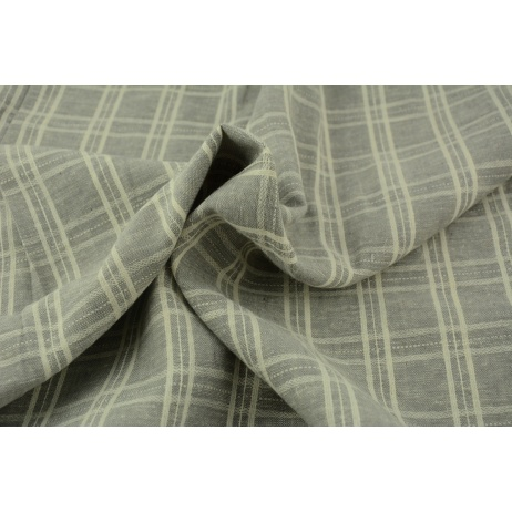 Linen-cotton fabric, double check, gray