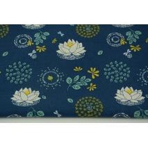 Bawełna 100% organiczna, lilie na granatowym tle