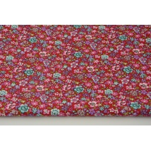Cotton 100% turquoise-pink flowers on a red background, poplin
