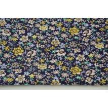 Bawełna 100% musztardowo-fioletowe kwiatki na śliwkowym tle, popelina