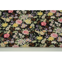 Cotton 100% field flowers on a black background, poplin