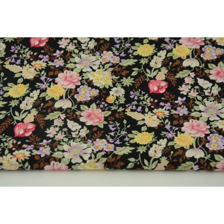 Cotton 100% field flowers on a black background, poplin