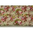 Cotton 100% retro bouquets on a cream background, poplin