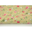 Cotton 100% small roses on a beige background with dots, poplin