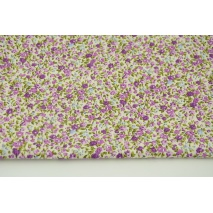 Cotton 100% purple-pink-blue mini flowers on a cream background, poplin