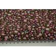 Cotton 100% purple-pink-blue mini flowers on a brown background, poplin