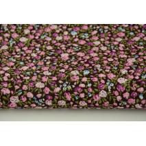 Bawełna 100% fioletowo-różowo-niebieskie mini kwiatki na brązowym tle, popelina