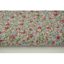 Bawełna 100% czerwono-różowo-fioletowe mini kwiatki na jasnym szałwiowym tle, popelina