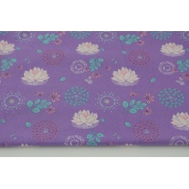 Cotton 100% organic, lilies on a purple background