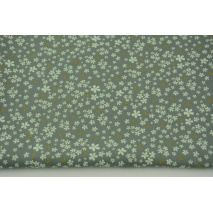 Organic cotton small, mint flowers, mustard leaves on a sage gray background