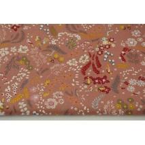 Organic cotton, botanical pattern on a brick background