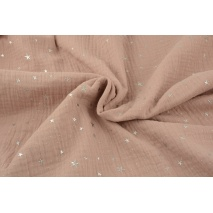 Double gauze 100% cotton silver stars on a dusty pink background