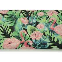 Bawełna 100% flamingi, kwiaty na czarnym tle