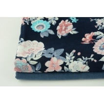 Cotton double gauze, L coral-turquoise flowers on a navy blue background