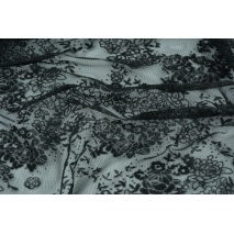 Mesh fabric embroidered flowers black