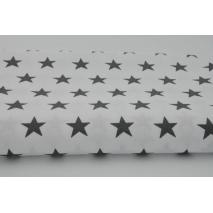 Bawełna 100% biała w gwiazdki c.szare 2,5cm