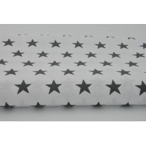 Cotton 100% dark gray stars 25mm on white background