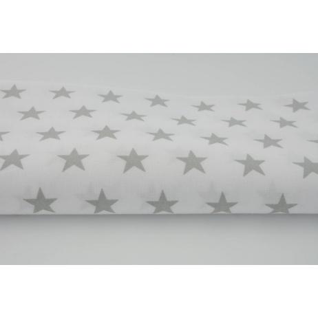 Bawełna 100% biała w gwiazdki jasnoszare 2,5cm