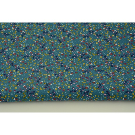 Cotton 100% meadow N1 on a petrol background, poplin