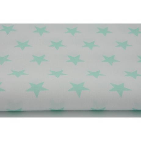 Bawełna 100% biała w gwiazdki miętowy sorbet 2,5cm