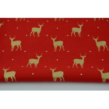 Cotton 100% glitter deer on a red background