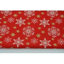 Bawełna 100% białe śnieżynki, złote gwiazdki na czerwonym tle