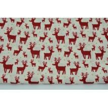 Cotton 100% mini reindeer on a ecru background