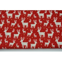 Cotton 100% mini reindeer on a red background