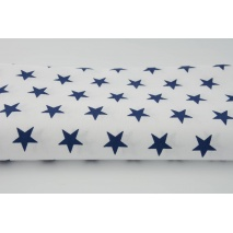 Cotton 100% navy stars 25mm on a white background