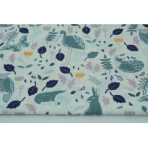 Cotton 100% herons, raccoons, hares, owls on a white background