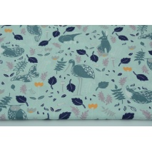Cotton 100% herons, raccoons, hares, owls on a mint background