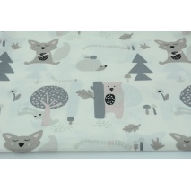 Cotton 100% teddy bears, foxes, hedgehogs on a white background