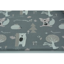 Cotton 100% teddy bears, foxes, hedgehogs on a gray background