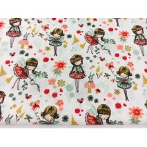 Cotton 100% magical garden s on a white background, poplin