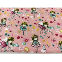 Cotton 100% magical garden on a blush background, poplin